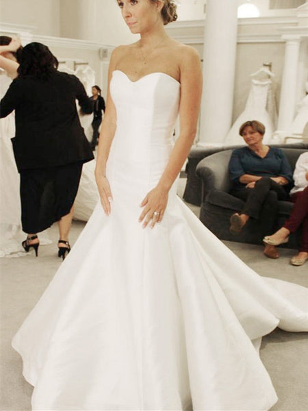 Delicate Satin Sweetheart Neckline Chapel Train Mermaid Wedding Dresses WD166