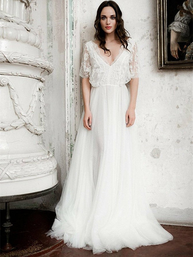 Gorgeous Lace & Tulle V-neck Neckline Short Sleeves A-line Wedding Dresses WD167
