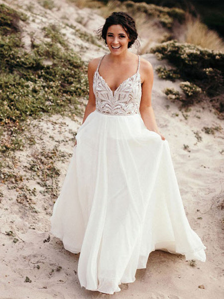 Stunning Chiffon Spaghetti Straps Neckline A-line Wedding Dresses With Beaded WD168
