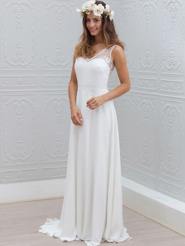 Simple Chiffon V-neck Neckline A-line Wedding Dresses With Appliqued WD182