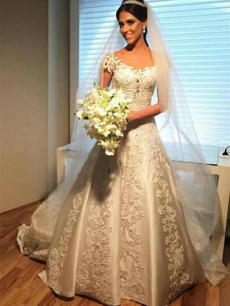 Eye-catching Satin Scoop Neckline A-line Wedding Dresses With Appliques WD173