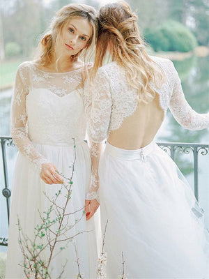 Chic Tulle Bateau Neckline Long Sleeves A-line Wedding Dresses WD178
