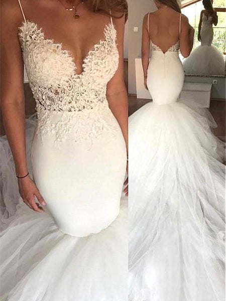 Attractive Satin & Tulle Spaghetti Straps Neckline Mermaid Wedding Dresses WD183