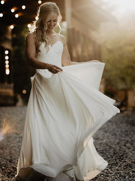 Delicate Lace Bridal Gowns Sweetheart Chiffon A-line Wedding Dresses WD186