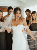 Attractive Off-the-shoulder Wedding Gowns Lace Sheath Bridal Dresses With Slit WD187