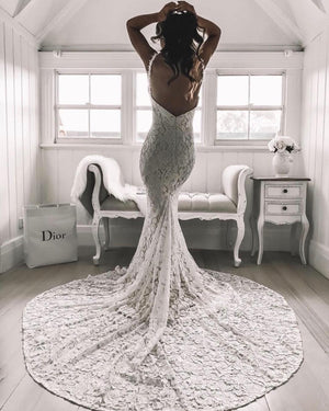 Alluring White Lace Bridal Gowns Spaghetti Straps Sheath Wedding Dresses WD188