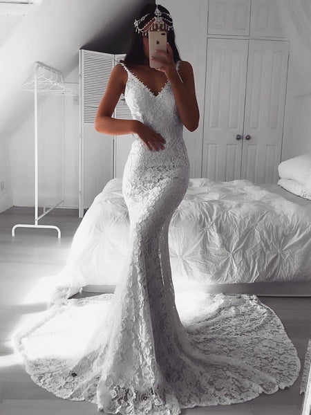 Alluring White Lace Wedding Dresses Spaghetti Straps Sheath Bridal Gowns WD188