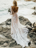 Charming Bateau Lace Wedding Gowns Long Sleeves A-line Wedding Dresses WD189