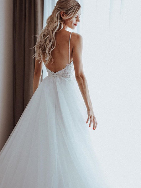 Shining Tulle Spaghetti Straps Beaded Appliqued A-line Wedding Dresses WD193