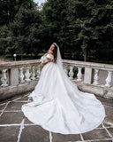 Simple Satin Off-the-shoulder Ball Gown Wedding Dresses WD195