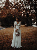 Unique  Chiffon V-neck A-line Wedding Dresses Long sleeves Gowns WD212