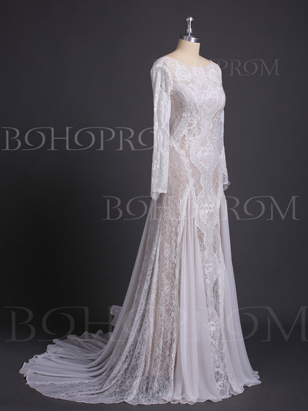 Alluring Lace Bateau Long Sleeves Chapel Train Sheath Wedding Dresses WD218