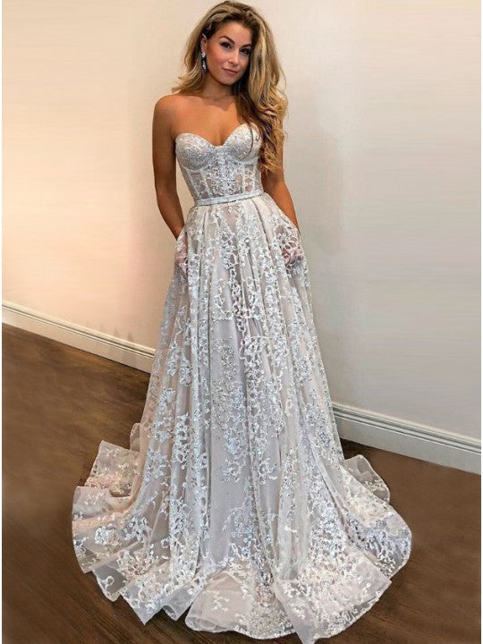 Elegant A-line Wedding Dresses Lace Sweetheart Long Bridal Dresses WD243