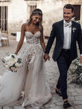 Glamorous Tulle Wedding Dresses A-line Appliqued Bridal Gowns WD244