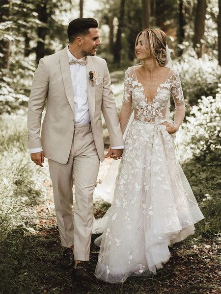 Romantic A-line Wedding Dresses With Long Sleeves Lace Bridal Gowns WD247