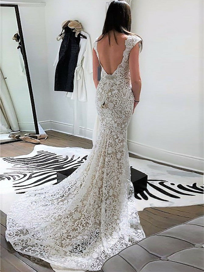 Attractive V-neck Mermaid Wedding Dresses Lace Bridal Gowns WD297