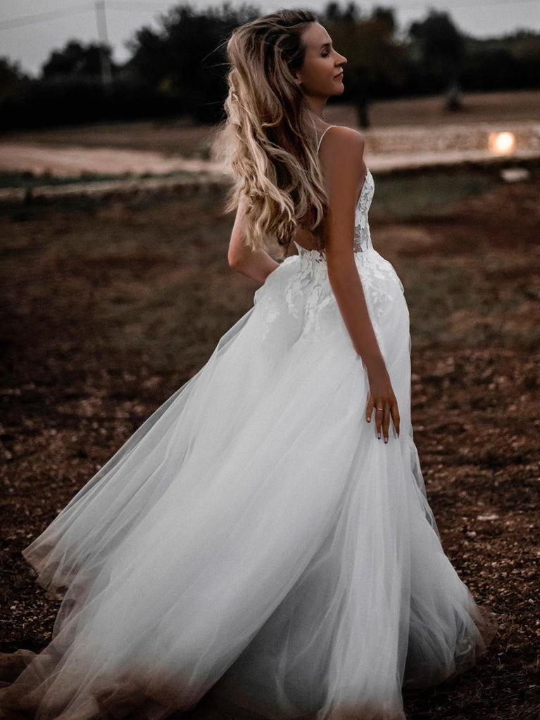 Backless Tulle Wedding Dresses A-line Appliqued Bridal Gowns WD309