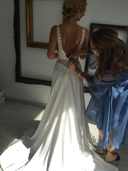 Backless Chiffon A-line Wedding Dresses Lace Bridal Gowns WD314