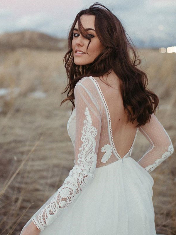 Long Sleeves Lace Illusion Backless Wedding Dresses A-line Chiffon Bridal Gowns WD356