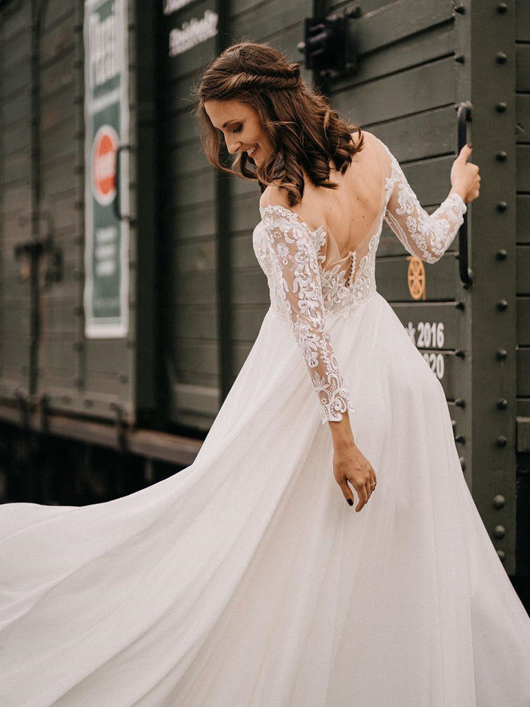 Elegant Chiffon A-line Lace Wedding Dresses with Long Sleeves Gowns WD472