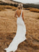Simple Satin Mermaid Backless Wedding Dresses  WD494