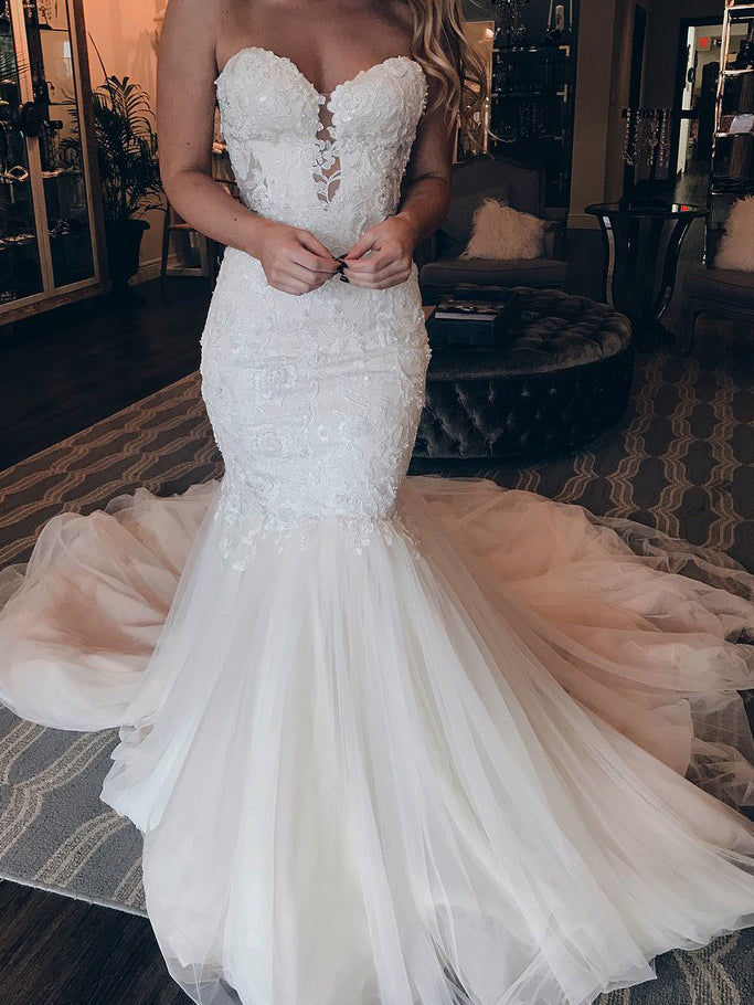 Beautiful Off-The-Shoulder Strapless Tulle Mermaid Long Wedding Dresses With Beaded Appliques WD508
