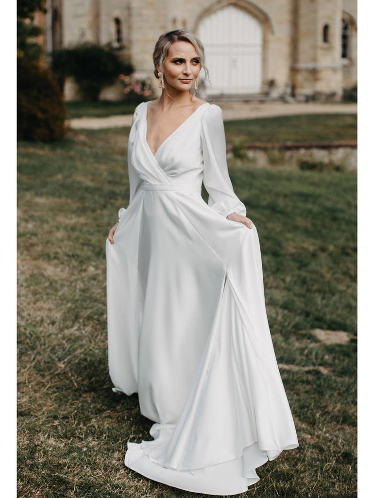 Simple Slit V-Neck Backless Satin Chiffon Wedding Dresses A-line Long Sleeves  WD521