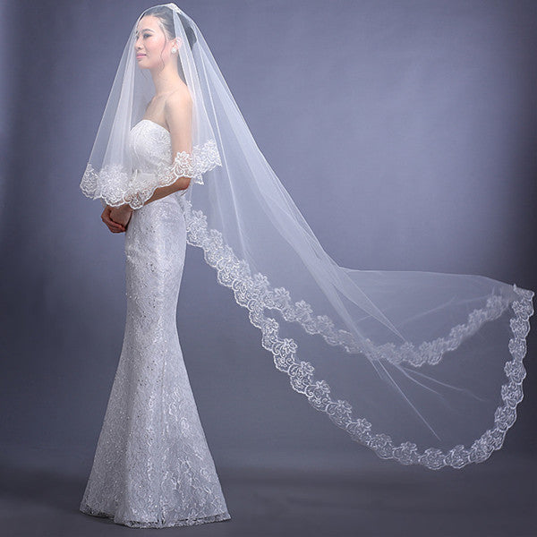 Chic Tulle Appliqued Long White Wedding Veils WV009