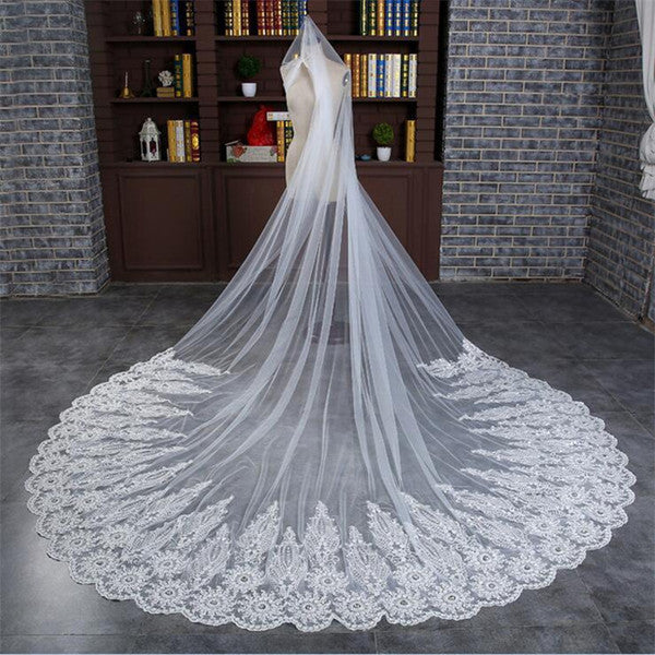 Fantastic Tulle Cathedral Train White Long Wedding Veils With Appliques WV010