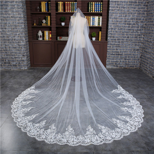 Alluring Tulle Cathedral Train White Long Wedding Veils With Appliques WV010
