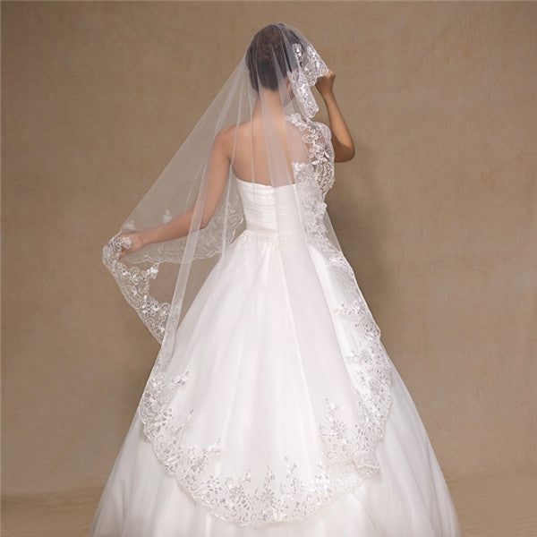 Sparkly Tulle Sequined Long Wedding Veil With Appliques WV016