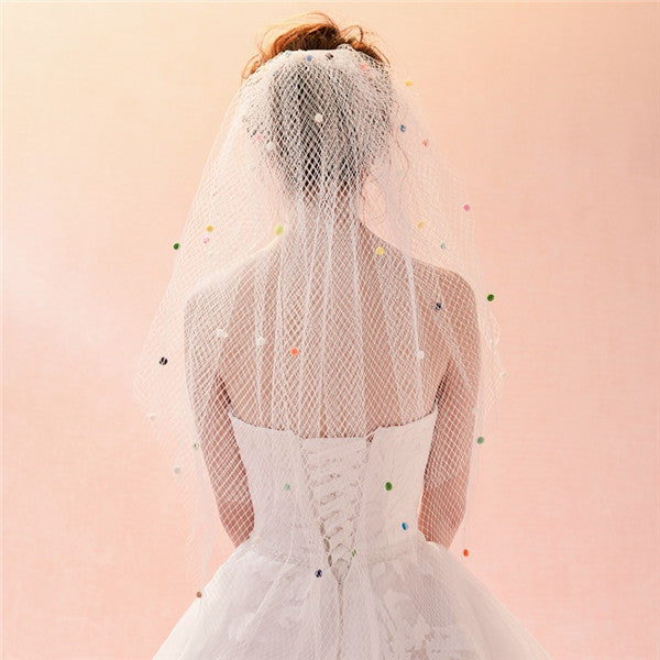 Sweet Tulle Short 2 Layers Colorballed Wedding Veil WV017