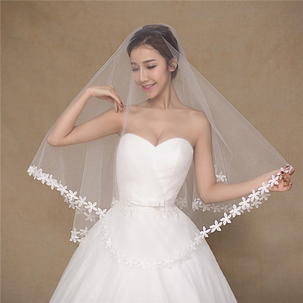 Stunning Tulle Long Romantic Wedding Veil With Appliques WV019