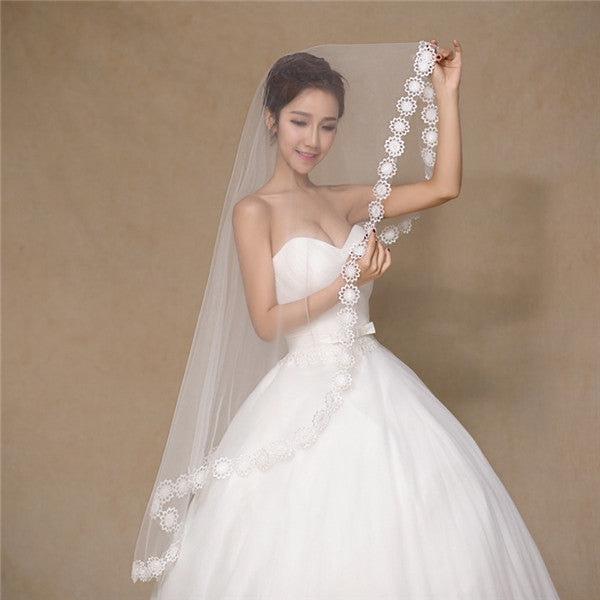 Eye-catching Tulle Long White Wedding Veil With Appliques WV022