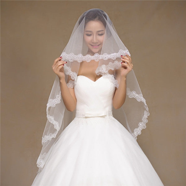 Exquisite Tulle White Appliqued Long Wedding Veil WV024
