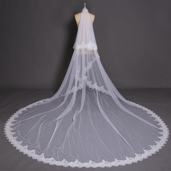 Romantic Tulle Appliqued Cathedral Train Sequined Wedding Veil WV035
