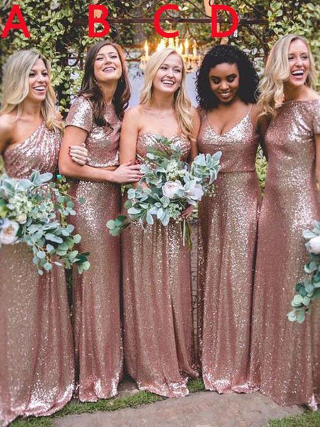 BohoProm Bridesmaid Dress A-line Asymmetric/Bateau/Sweetheart/Spaghetti Strap Floor-Length Sequin Bridesmaid Dresses 2806
