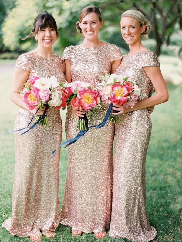 BohoProm Bridesmaid Dress A-line Bateau Floor-Length Sequin Bridesmaid Dresses ASD26700