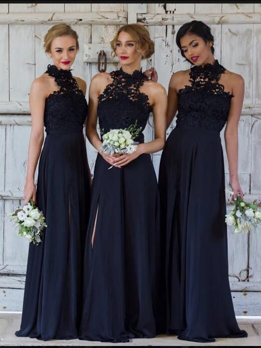 BohoProm Bridesmaid Dress A-line Halter Floor-Length Chiffon Appliqued Bridesmaid Dresses ASD26701