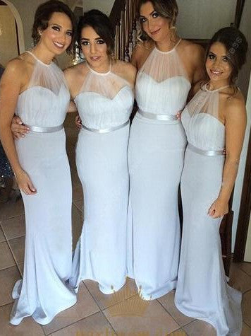 A-line Halter Floor-Length Chiffon Beaded Bridesmaid Dresses ASD2514