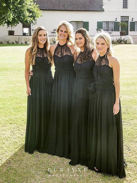 BohoProm Bridesmaid Dress A-line Halter Floor-Length Chiffon Black Bridesmaid Dresses ABC0005