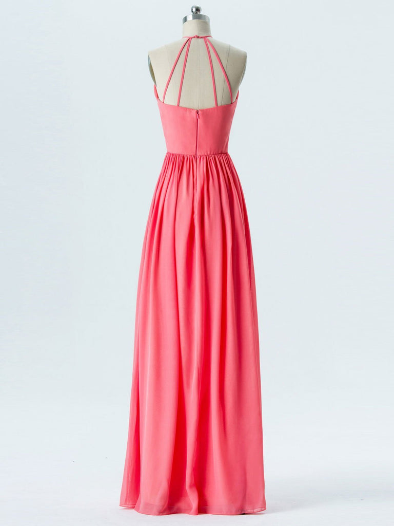 BohoProm Bridesmaid Dress A-line Halter Floor-Length Chiffon Bridesmaid Dresses 2867