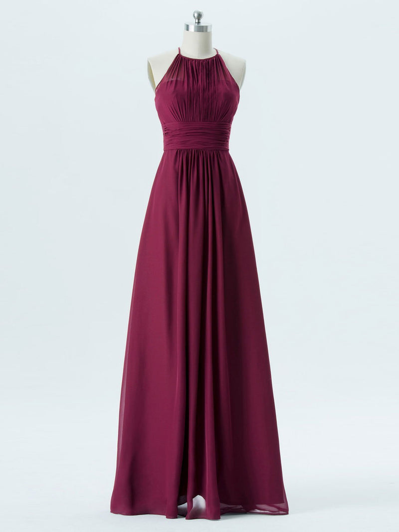 BohoProm Bridesmaid Dress A-line Halter Floor-Length Chiffon Bridesmaid Dresses 2868