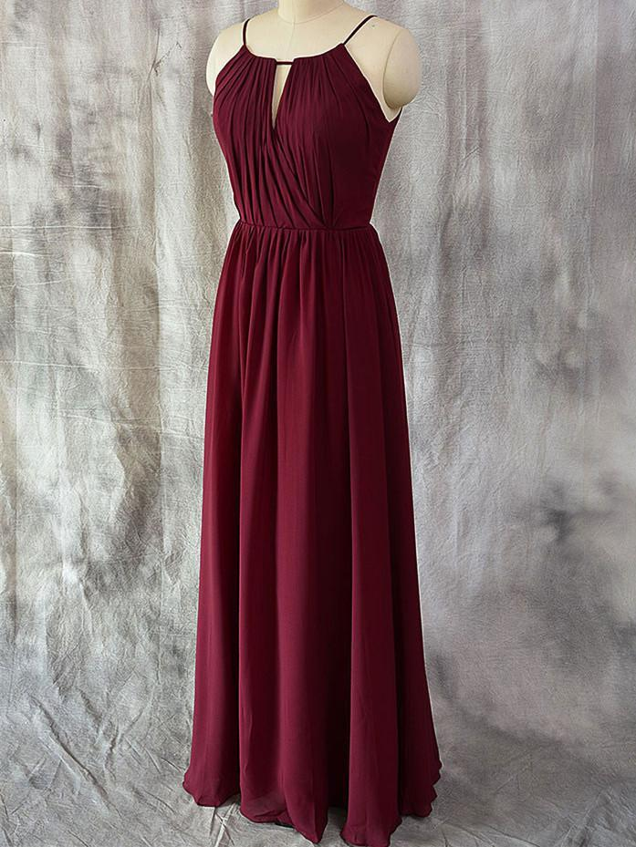 BohoProm Bridesmaid Dress A-line Halter Floor-Length Chiffon Simple Bridesmaid Dresses ABC00022