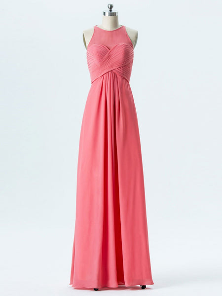 BohoProm Bridesmaid Dress A-line Halter Scoop-Neck Floor-Length Chiffon Bridesmaid Dresses 2866