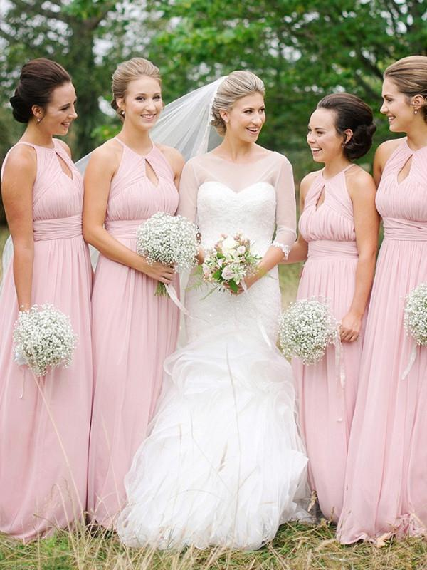 BohoProm Bridesmaid Dress A-line Halter Sweep Train Chiffon Simple Bridesmaid Dresses ASD2472