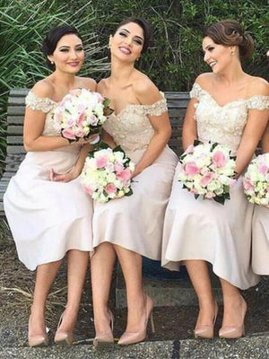 BohoProm Bridesmaid Dress A-line Off-Shoulder Floor Length Satin Bridesmaid Dresses With Appliques HX0012