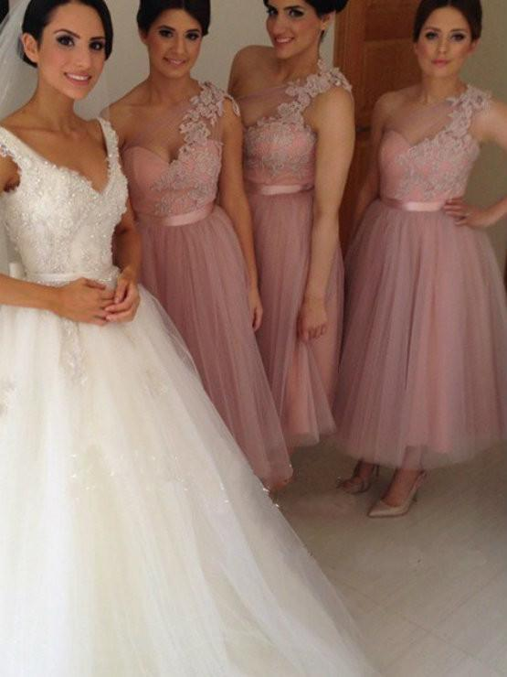 BohoProm Bridesmaid Dress A-line One Shoulder Ankle Length Tulle  Bridesmaid Dresses HX0015