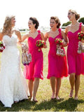 BohoProm Bridesmaid Dress A-line One Shoulder Knee Length Chiffon Simple Bridesmaid Dresses HX005