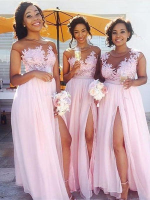 BohoProm Bridesmaid Dress A-line Scoop-Neck Floor Length Chiffon Pink Bridesmaid Dresses HX00115